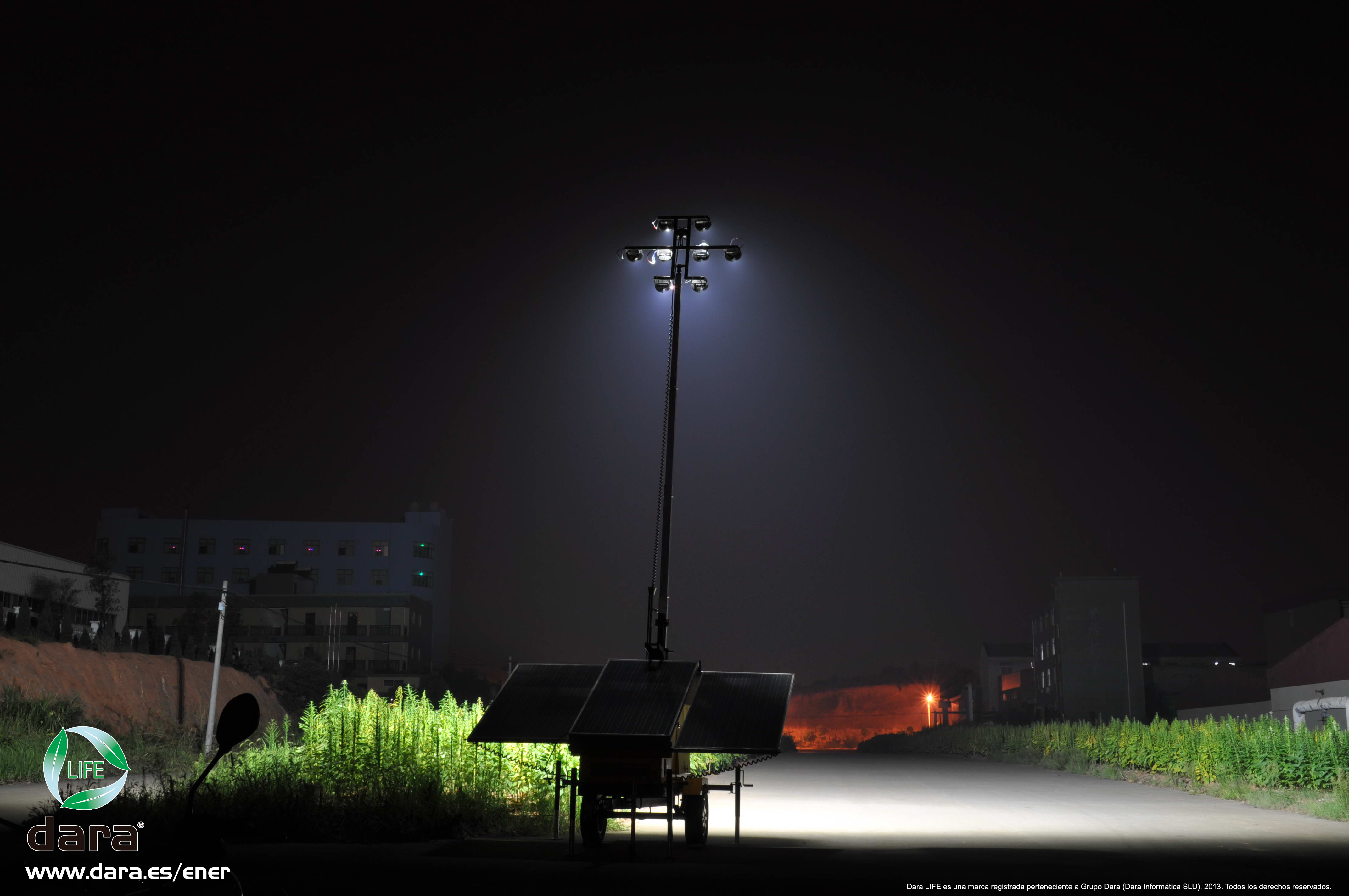 Dara life greenlight torre de iluminaci n solar m vil for Iluminacion de exterior solar